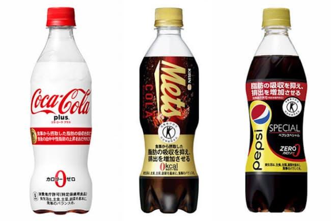 3月27日に発売される「コカ・コーラ プラス」(左)と、トクホコーラナンバーワンをうたう「キリン メッツ コーラ」、「ペプシ スペシャル」