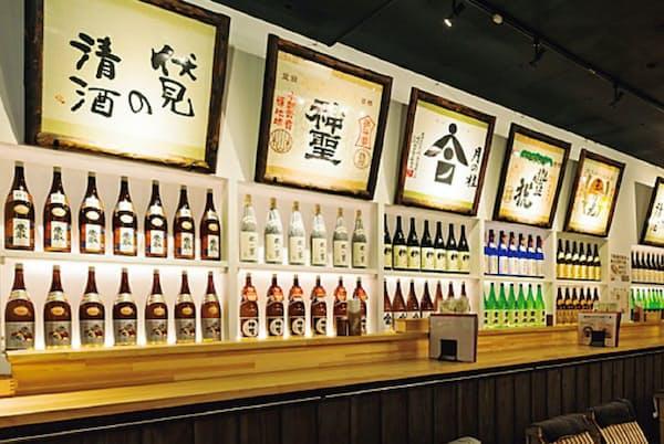地元17蔵の清酒を100種類以上そろえた酒蔵カウンターもある「伏水酒蔵小路」