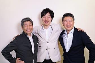プロのトレーナー出身の創業者、溝口勇児社長(中央)を日本興業銀行出身の副社長、乗松文夫氏(左)と小泉泰郎氏(右)が支える