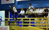第1回日本スケートボード選手権大会で優勝した池田大亮選手(23日、東京都足立区)