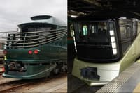 6月17日から運行を始める「TWILIGHT EXPRESS 瑞風」(左)と5月1日から運行を始めた「TRAIN SUITE 四季島」(右)