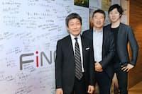 日本興業銀行出身の乗松文夫・フィンク副社長(左端)。被災地の復興に取り組んでいた2014年に溝口勇児社長(右端)と出会い、入社を口説かれた