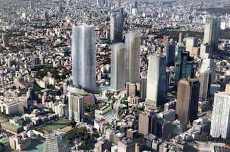 330メートルの超高層ビル(中央左)などを建てる計画だ(イメージ)