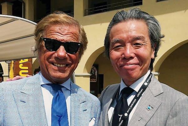 イタリアファッション界の著名人、リーノ・イエルッツィさん(左)と筆者