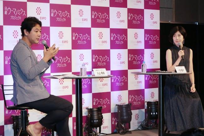 「WOMAN EXPO TOKYO2017」で話す入山章栄さん(左)と小島慶子さん(5月21日、東京都港区)