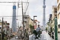 電柱がなくなれば町の景観は飛躍的に良くなる(写真は墨田区のスカイツリー周辺。左は以前、右が現在)