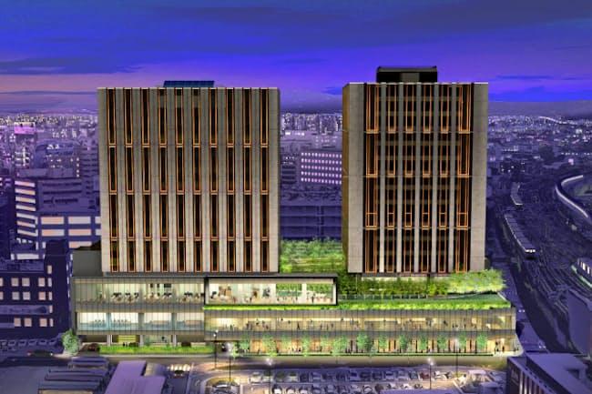 金沢駅前に開業する複合施設の外観イメージ。「ハイアットハウス」は右側の棟に入る