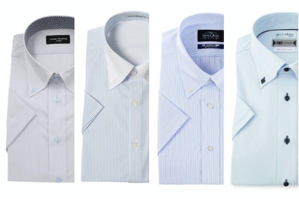 夏用ワイシャツは各社ノーアイロンや防臭・涼感加工など、機能性の高いものが目立った