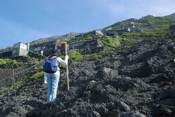 金剛杖を手に七合目まで登ってきました。山小屋群が目に入るとあと一息。新たな力がわいてきます (写真:japan-guide.com)