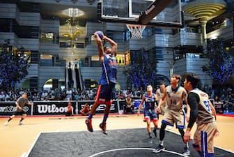 東京五輪の新種目に決まった3人制バスケットボール(6月、東京都品川区)