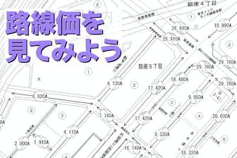 実際の路線価図。日本一地価が高い銀座5丁目周辺の例