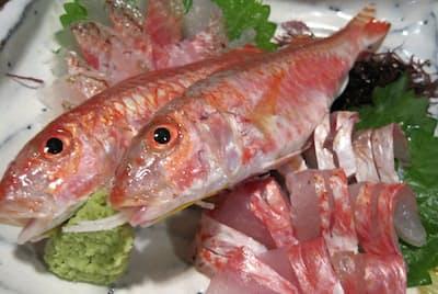 金太郎の刺し身は市内の店で食べられる。白身魚なのに濃いめの味がする