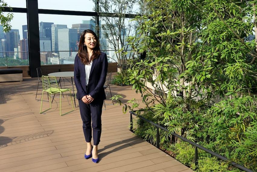 仲神さんが担当した日比谷パークフロントは屋上の庭園の緑が豊かだ