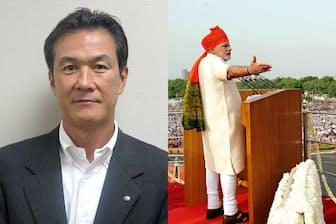 野村アセットマネジメント北薗雅一氏(左)、演説するモディ首相(右)