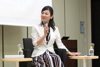 日経電子版読者に向け、iDeCoの長所や活用法を講演する筆者