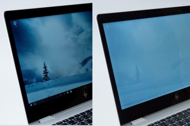 Fnキーを押しながらF2キーを押すだけで視野角が狭くなり、横から見たときに画面が白っぽくなる
