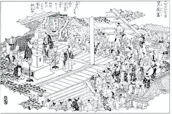 日本で初めて富くじを行った寺とされる瀧安寺の箕面富の様子