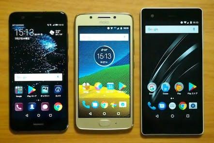 左から「P10 lite」(ファーウェイ)、「Moto G5」(モトローラ)、「VAIO Phone A」(VAIO)