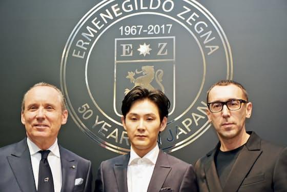 ゼニア氏、キャンペーンのパーソナリティーに起用された俳優の松田龍平さん、サルトリ氏(左から)