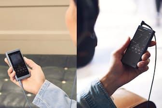 ドイツで開催された家電見本市「IFA 2017」で発表されたウォークマンの新しい「A40シリーズ」(左)と新製品「NW-ZX300」