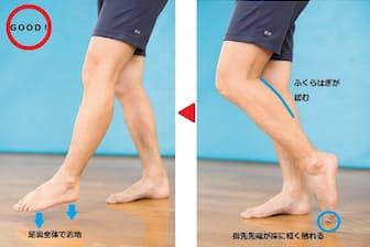 室内を歩くとき、ドスドス音がするなら「かかと歩き」になっている証拠。膝や腰に負担をかけない歩き方は、写真で示したような「親指先端タッチ歩き」だ(写真 松川智一、以下同)