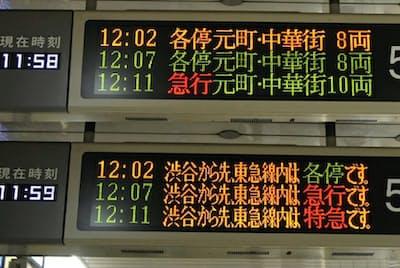 副都心線の行き先表示板。上と下は同じ電光掲示板の写真を合成。東急東横線に乗り入れる際、各停のまま、各停から急行、急行から特急と種別が変わる(東京都豊島区)