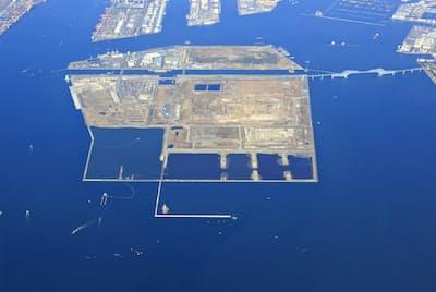 東京都の江東、大田両区が帰属を主張する中央防波堤埋め立て地(東京都港湾局提供)