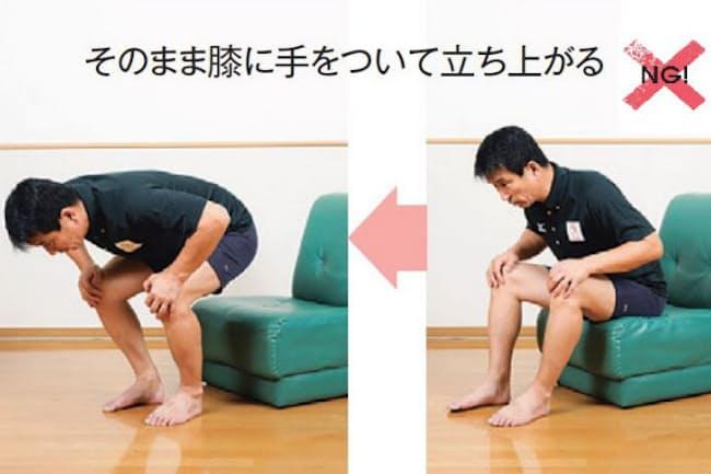 ソファから立ち上がるとき、こんな姿勢になっていない? 実はこの姿勢、腰への負担が大きいそうです。では、どうすればいいでしょう(写真 松川智一、以下同)