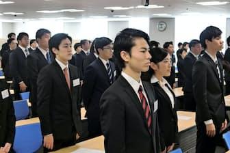 大手商社も10月に新卒の内定式を開いた(三井物産)