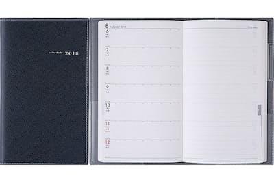 高橋書店の2018年新作「アヴァン」。月間予定表ブロックと週間レフト式で構成されたビジネス手帳