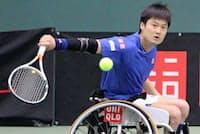 国枝慎吾さんは20年の東京パラリンピックを自らの「最終ゴール」と位置づけている(17年4月、兵庫県三木市で開かれた神戸オープン)