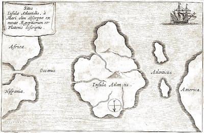 17世紀の学者アタナシウス・キルヒャーによるアトランティスの地図。アフリカとアメリカのちょうど真ん中にアトランティスがあるとした