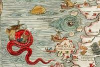 オラウス・マグヌスによる「カルタ・マリナ」の一部。1539年に発行されたこの地図には、さまざまな海の怪物が描かれている