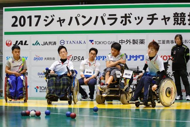 ボッチャの国際大会で日本代表とタイ代表の試合が行われた(11月18日、東京都武蔵野市)