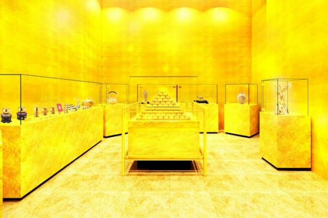 テンボスコインの価値を裏付ける純金などを展示する「黄金の館」のイメージ=ハウステンボス提供