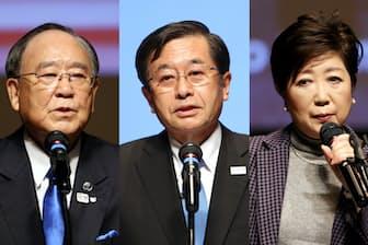 日経2020フォーラムで講演した(左から)御手洗冨士夫、北沢利文、小池百合子各氏