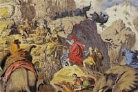 アルプス山脈を越えるハンニバル軍を描いた19世紀の木版画(Heinrich Leutemann)