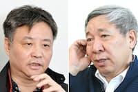 中国人作家の余華氏(左)と閻連科氏