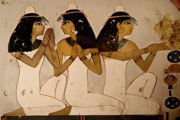 3400年前の壁画の細部。(PHOTOGRAPH BY NARIMAN EL-MOFTY, AP FOR NATIONAL GEOGRAPHIC)