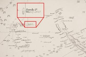 R・C・カリントンによるイギリス海軍水路部の太平洋海図。ニューカレドニアの西にサンディ島の表記がある(赤枠で拡大した部分)