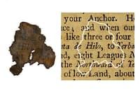 海賊「黒ひげ」の旗艦クイーン・アンズ・リベンジ(アン女王の復讐)号から発見された紙片と、紙片の出所であることが判明した本との比較画像。(PHOTOGRAPH COURTESY N.C. DEPARTMENT OF NATURAL AND CULTURAL RESOURCES)