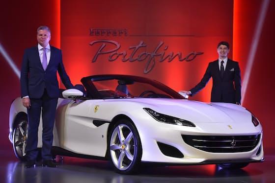 日本で初公開された「フェラーリ ポルトフィーノ」(東京都千代田区のパレスホテル東京で)