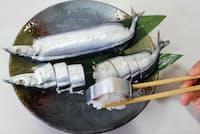 サンマずしは東紀州の代表的な郷土料理。熊野では尾頭付き(三重県熊野市の「かね久」で)