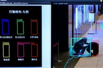 監視カメラがうずくまる通行人を発見すると、AIから通報を受けた警備員が急行する(三菱地所とALSOKによる実証実験)