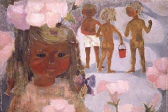 いわさきちひろの油彩画「ハマヒルガオと少女」(1950年代中頃)