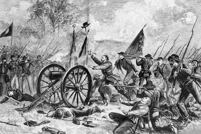 南北戦争の激戦として知られるゲティスバーグの戦いを描いた記録画=AP