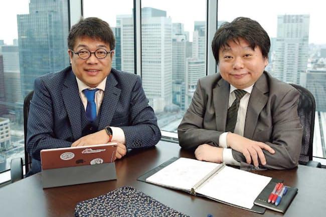 レオス・キャピタルワークス社長の藤野英人氏(左)と大和住銀投信投資顧問シニア・ファンドマネジャーの苦瓜達郎氏(右)
