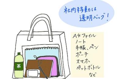 社内移動には、透明のビニールバッグが便利でオススメ。(nikkei WOMAN Onlineより)=イラスト/編集部
