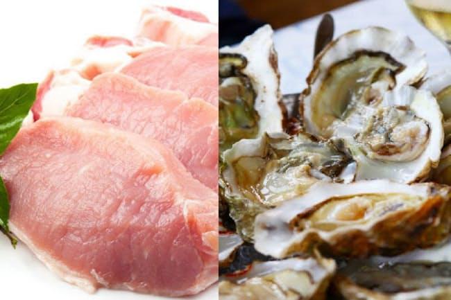 髪をすこやかに保つために、意識して食べたい食材は何だろうか。写真はイメージ=(c)Monchai Tudsamalee-123RF(豚肉)、Valeriy Lebedev -123rf(牡蠣)