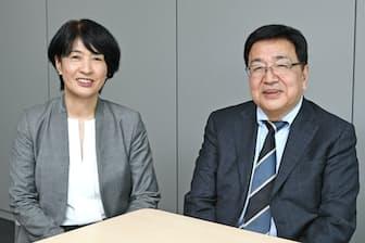 三菱UFJリサーチ&コンサルティングの矢島洋子共生社会部長(左)と、青山学院大学大学院の北川哲雄教授